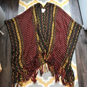 Free People Ruana Fringe Shawl Scarf Wrap